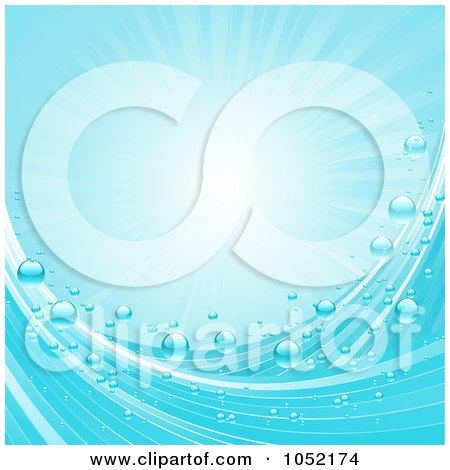 Royalty-Free Vector Clip Art Illustration of a Blue Ocean Wave, Bubble And Sunshine Background by elaineitalia