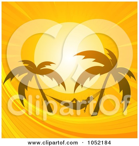Royalty-Free Vector Clip Art Illustration of a Silhouetted Woman In A Hammock, Silhouetted Against An Orange Sunset Sky by elaineitalia
