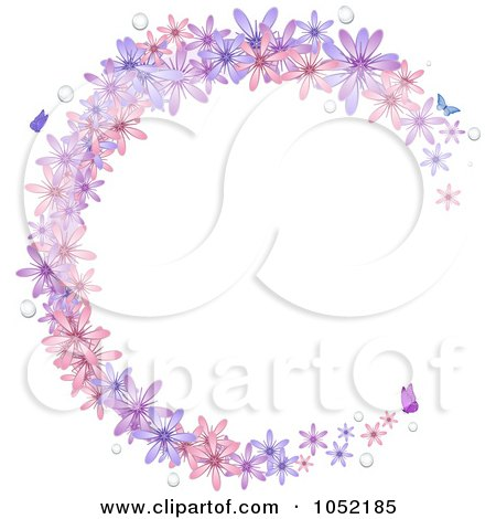 Royalty-Free Vector Clip Art Illustration of a Circular Frame Of Spring Flowers, Water Drops And Butterflies by elaineitalia