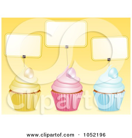 Royalty-Free 3d Vector Clip Art Illustration of Three 3d Easter Cupcakes With Blank Labels Over Yellow by elaineitalia