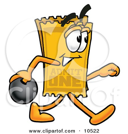 Clipart Picture of a Yellow Admission Ticket Mascot Cartoon Character Holding a Bowling Ball by Toons4Biz