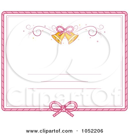 Royalty-Free Vector Clip Art Illustration of a Pink Border And Bells On A Wedding Invitation by BNP Design Studio