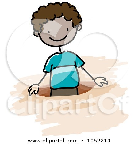Royalty-Free Vector Clip Art Illustration of a Doodled Black Boy In A Hole by BNP Design Studio