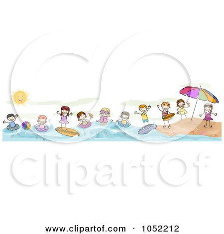 Royalty-Free Vector Clip Art Illustration of a Border Of Summer Doodled Kids At The Beach by BNP Design Studio