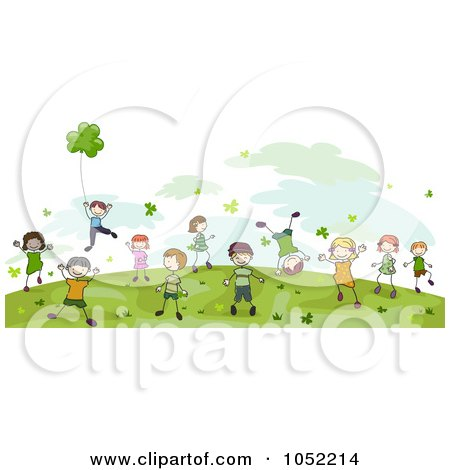 Royalty-Free Vector Clip Art Illustration of Energetic Doodled St Patricks Day Kids Playing by BNP Design Studio