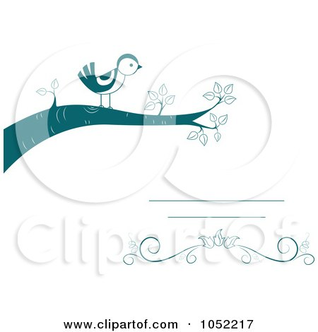 Royalty-Free Vector Clip Art Illustration of an Invitation Design Of A Bird On A Branch by BNP Design Studio