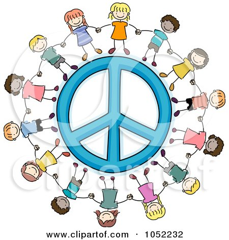 Royalty-Free Vector Clip Art Illustration of Doodled Kids Holding Hands Around A Peace Symbol by BNP Design Studio