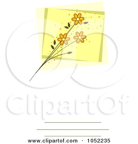Royalty-Free Vector Clip Art Illustration of an Invitation Design With Yellow Flowers by BNP Design Studio