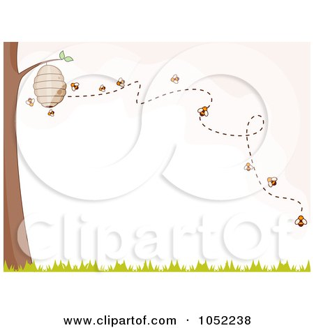 Royalty-Free Vector Clip Art Illustration of Bees Buzzing Around A Hive On A Tree by BNP Design Studio