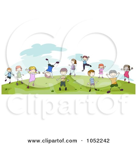 Royalty-Free Vector Clip Art Illustration of Doodled Children Playing On A Hill Outdoors by BNP Design Studio