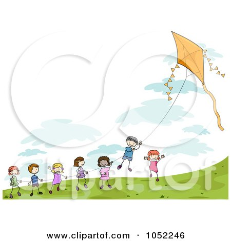 Doodled Children Playing With A Kite Posters, Art Prints