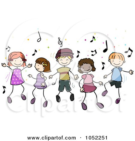 Royalty-Free Vector Clip Art Illustration of Doodled Children Dancing To Music by BNP Design Studio