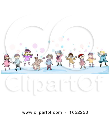 Border Of Doodled Winter Kids Posters, Art Prints