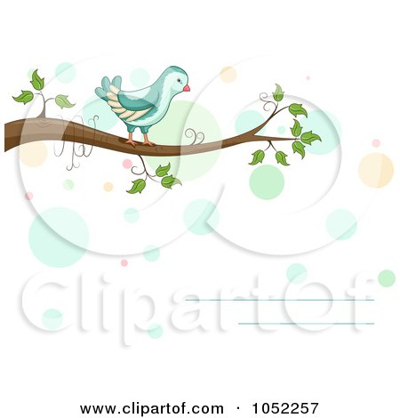 Royalty-Free Vector Clip Art Illustration of a Horizontal Invitation With A Bird On A Branch And Dots by BNP Design Studio