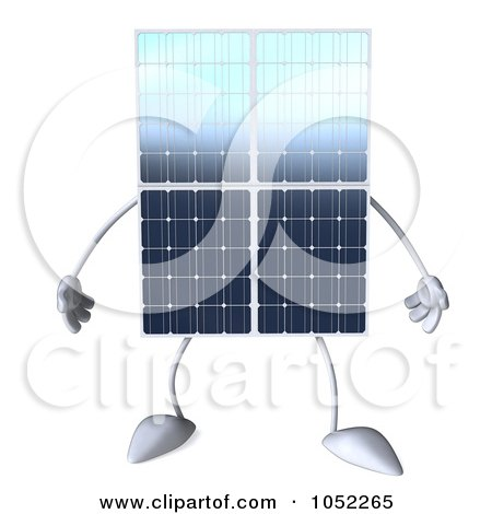Royalty-Free 3d Clip Art Illustration of a 3d Solar Panel Character by Julos
