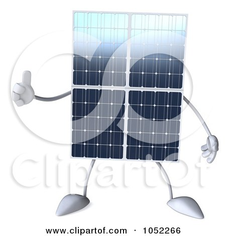 Royalty-Free 3d Clip Art Illustration of a 3d Solar Panel Character Giving A Thumbs Up by Julos