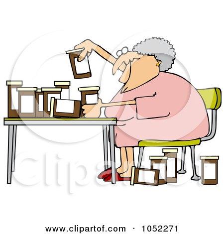 Royalty-Free Vector Clip Art Illustration of a Senior Woman Comparing Medications by djart