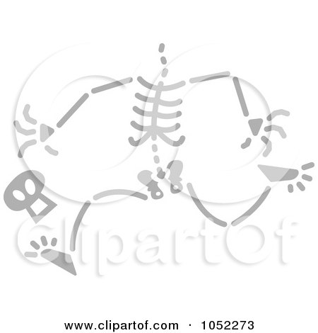 Royalty-Free Vector Clip Art Illustration of a Gray Running Skeleton Losing His Head by Zooco