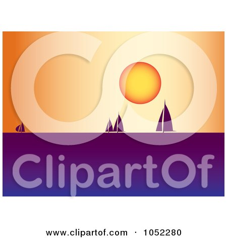 Royalty-Free Vector Clip Art Illustration of a Background Of Silhouetted Sailboats At Sunset by pauloribau