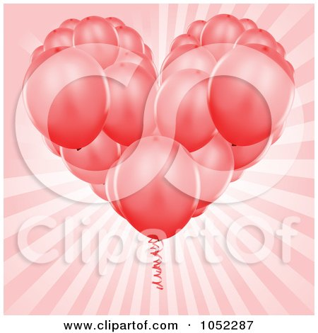 Royalty-Free Vector Clip Art Illustration of a Heart Bouquet Of Red Party Balloons Over Pink Rays by dero