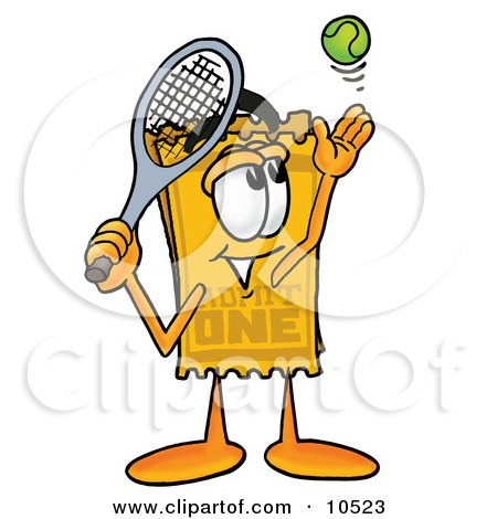 Clipart Picture of a Yellow Admission Ticket Mascot Cartoon Character Preparing to Hit a Tennis Ball by Toons4Biz