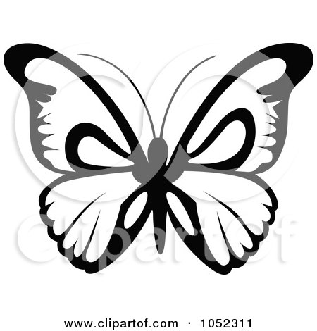 Simple butterfly clipart black and white