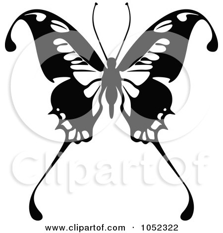 Royalty-Free Vector Clip Art Illustration of a Black And White Flying Butterfly Logo - 11 by dero