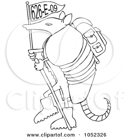 Royalty-Free (RF) Clipart Illustration of a Hiker Armadillo With A Flag  by djart