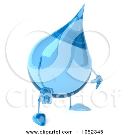Royalty-Free 3d Clip Art Illustration of a 3d Water Droplet Pouting by Julos