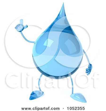 Royalty-Free 3d Clip Art Illustration of a 3d Water Droplet With An Idea by Julos
