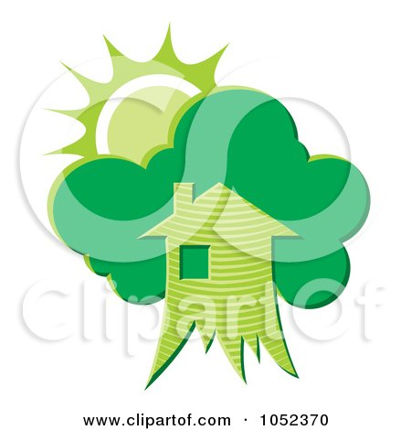 Royalty-Free Vector Clip Art Illustration of a Green Tree House With The Sun by Any Vector