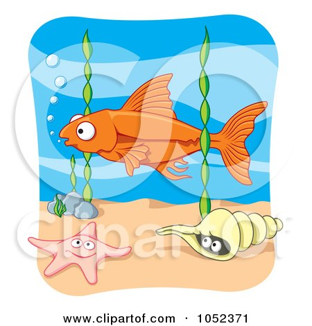 Royalty-Free Vector Clip Art Illustration of an Orange Fish Above Seaweed, A Starfish And Conch by Any Vector