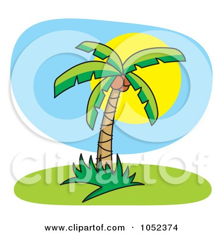 Royalty-Free Vector Clip Art Illustration of a Palm Tree Against A Full Sun by Any Vector