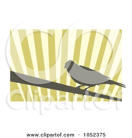 Royalty-Free Vector Clip Art Illustration of a Silhouetted Canary Over Stripes - 2 by Any Vector