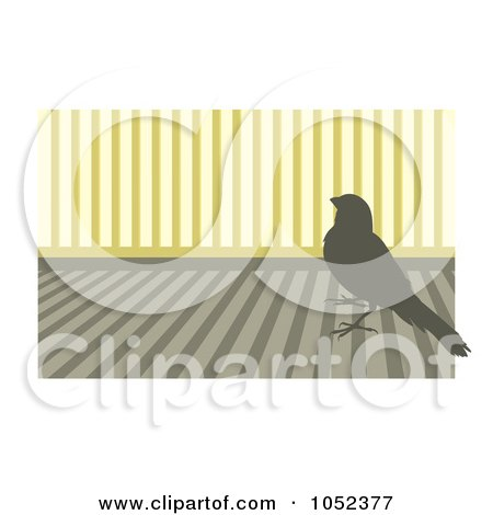 Royalty-Free Vector Clip Art Illustration of a Silhouetted Canary Over Stripes - 1 by Any Vector