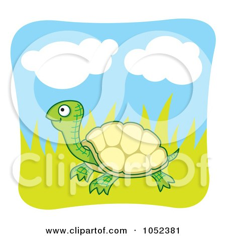 Royalty-Free Vector Clip Art Illustration of a Happy Tortoise In Grass by Any Vector