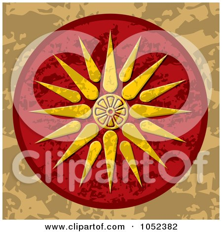 Royalty-Free Vector Clip Art Illustration of a Vergina Sun Macedonia Symbol On A Red And Brown Background by Any Vector