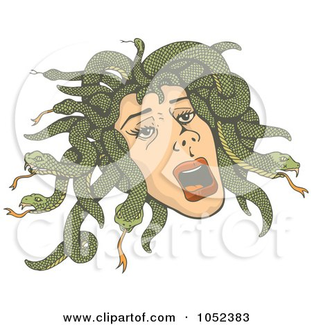 Royalty-Free Vector Clip Art Illustration of Medusa's Head With Snakes by Any Vector