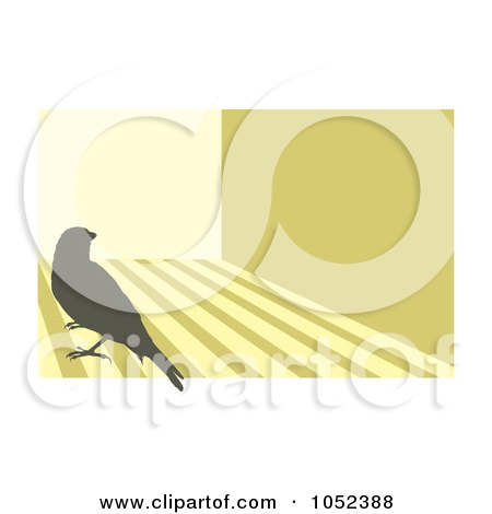 Royalty-Free Vector Clip Art Illustration of a Silhouetted Canary Over Stripes - 3 by Any Vector