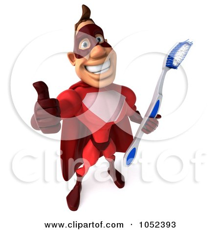 Royalty-Free 3d Clipart Illustration of a 3d Red Super Hero Guy With A Toothbrush - Pose 4 by Julos