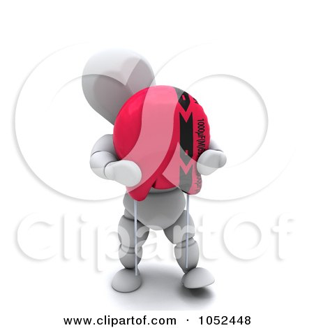 Royalty-Free 3d Clip Art Illustration of a 3d White Character Holding A Capacitor by KJ Pargeter