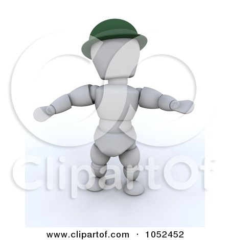 Royalty-Free 3d Clip Art Illustration of a 3d White Character Leprechaun by KJ Pargeter