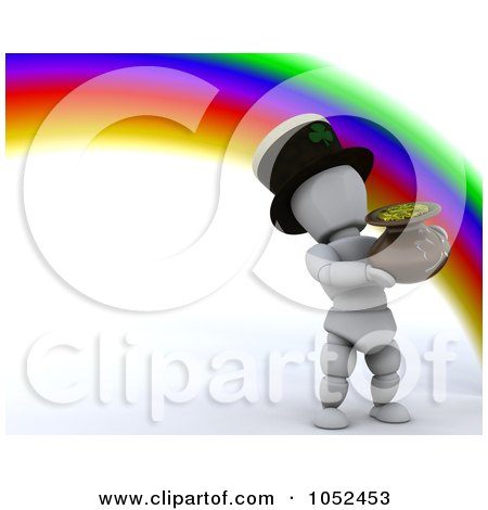 Royalty-Free 3d Clip Art Illustration of a 3d White Character Leprechaun At The End Of A Rainbow by KJ Pargeter
