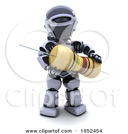 Royalty-Free 3d Clip Art Illustration of a 3d Robot With A Computer Part - 2 by KJ Pargeter