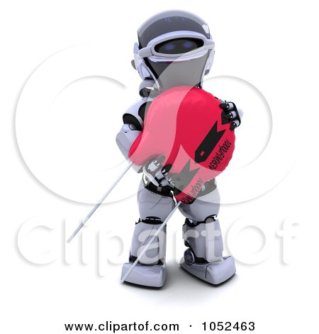 Royalty-Free 3d Clip Art Illustration of a 3d Robot With A Computer Part - 3 by KJ Pargeter