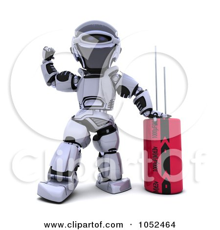 Royalty-Free 3d Clip Art Illustration of a 3d Robot With A Computer Part - 1 by KJ Pargeter