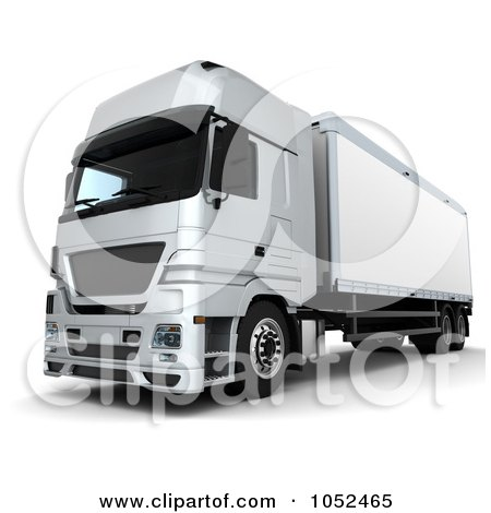 Royalty-Free 3d Clip Art Illustration of a 3d Euro HGV Trailer - 4 by KJ Pargeter