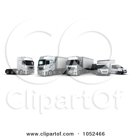 Royalty-Free 3d Clip Art Illustration of a 3d Euro Delivery Fleet by KJ Pargeter