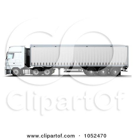 Royalty-Free 3d Clip Art Illustration of a 3d Euro HGV Trailer - 3 by KJ Pargeter