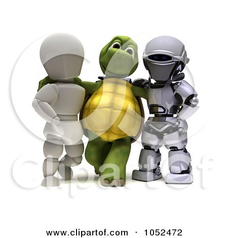 Royalty-Free 3d Clip Art Illustration of a 3d Robot, Tortoise And White Character by KJ Pargeter